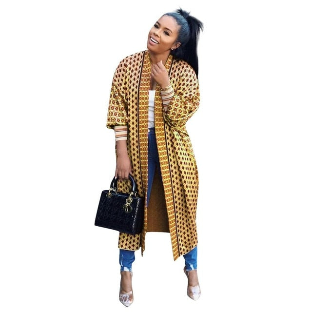 Fashion Print Threaded Long Sleeve Cardigan