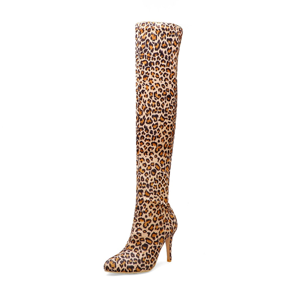 Knee High Cheetah Print Boots