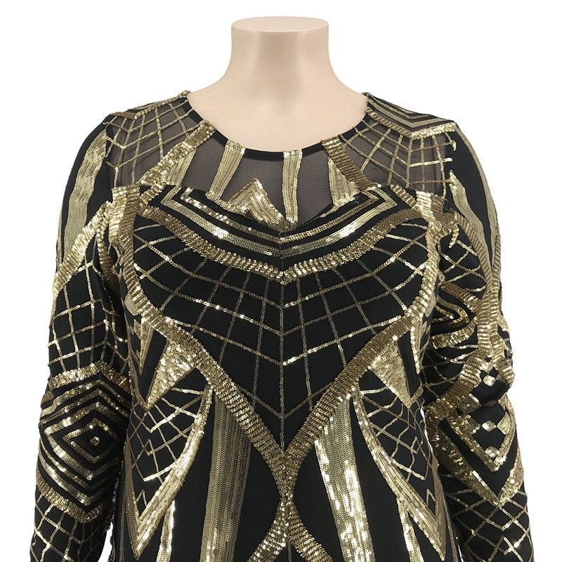 Gorgeous Gold Sequin Sheer Mesh Plus Size Dress