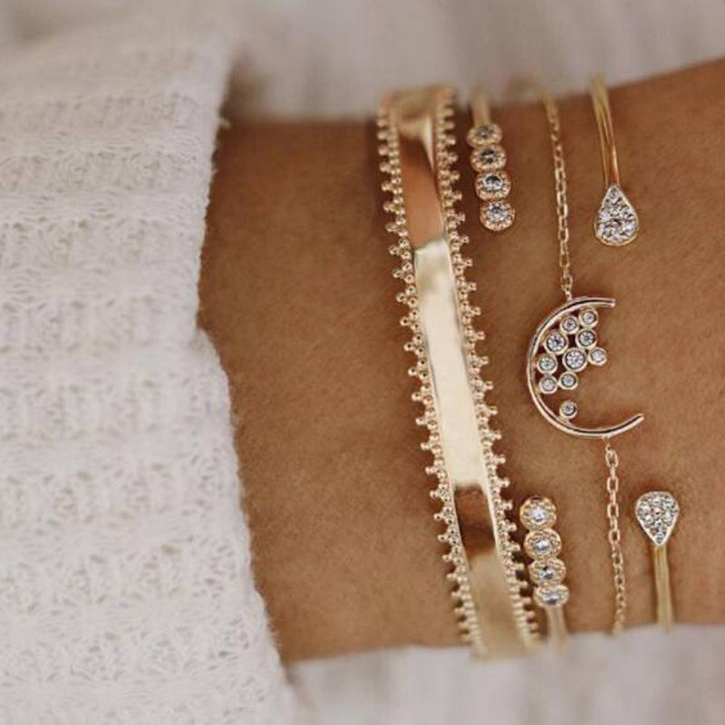 Gold Moon Star Bracelets for Women