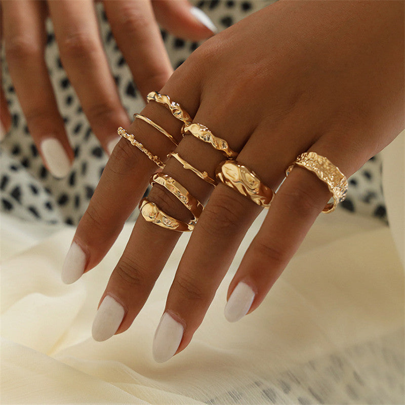 Women Vintage Gold Color Rings Set