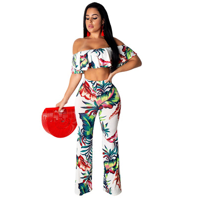 Floral 2 Piece Ruffle Off Shoulder Crop Top Flare Pants Set
