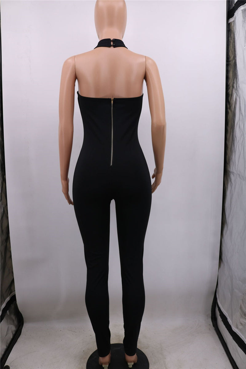 Women Sexy  V Neck Jumpsuit