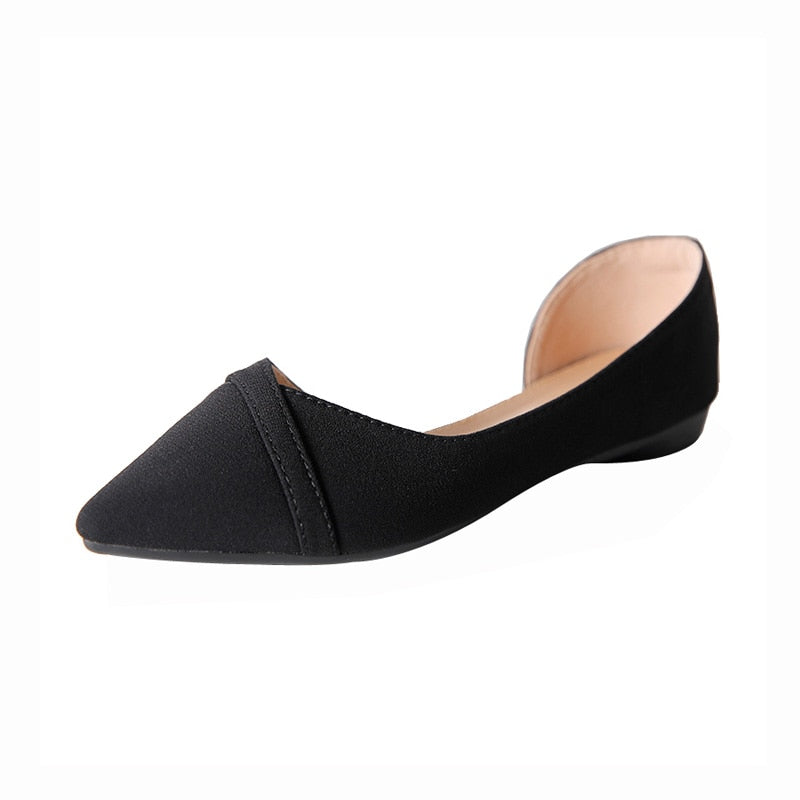 Women Flats Pink Black Shoes