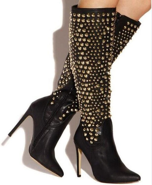 Gold Rivet Knee High Leather Boots