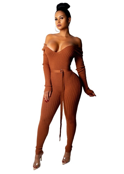 Off Shoulder Ribbed Jumpsuit