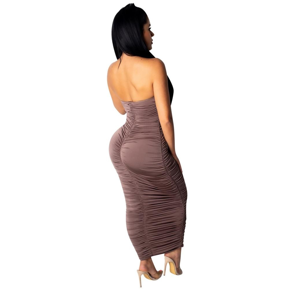 Silk Ruched Detail Strapless Bodycon Dress