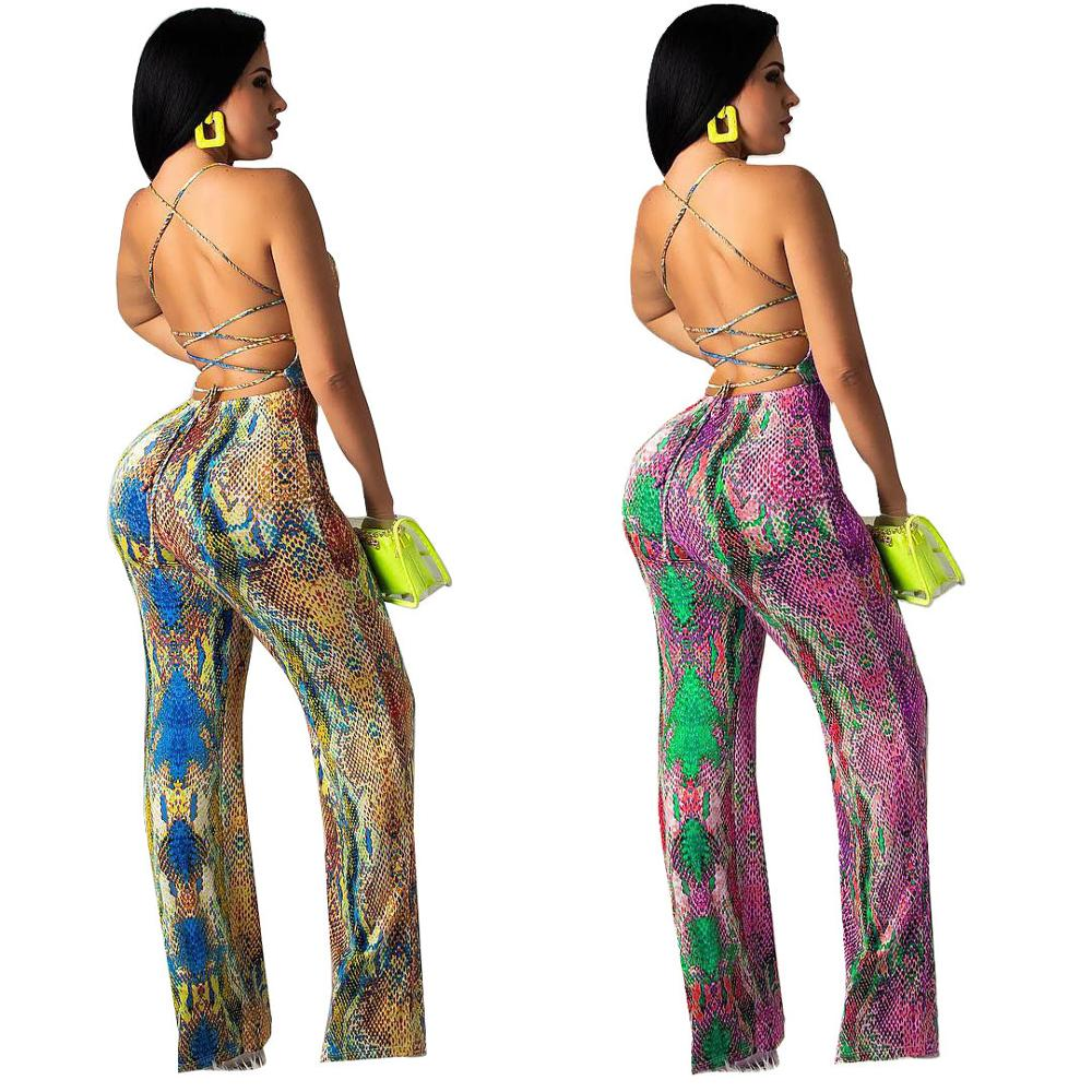 Snake Skin Backless Jumpsuit