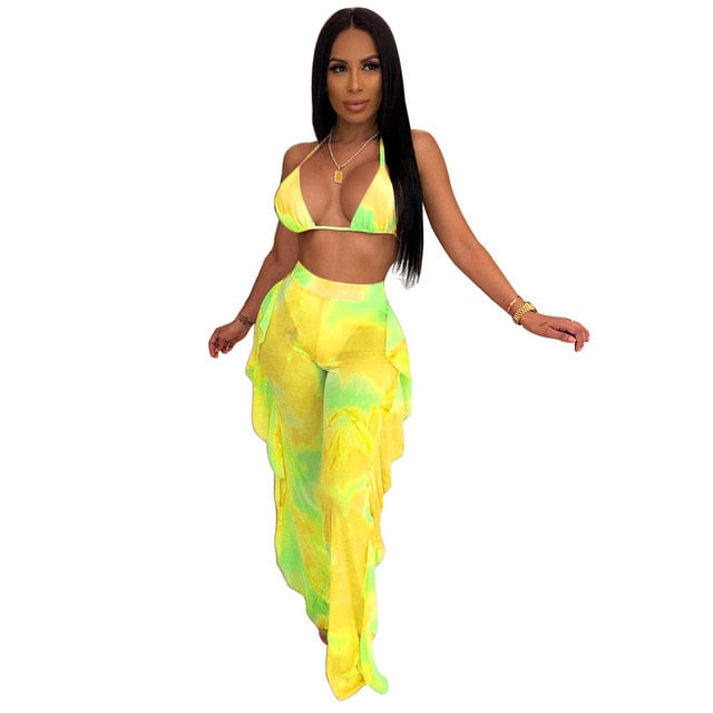 Tie Dye Print Mesh Two Piece Set