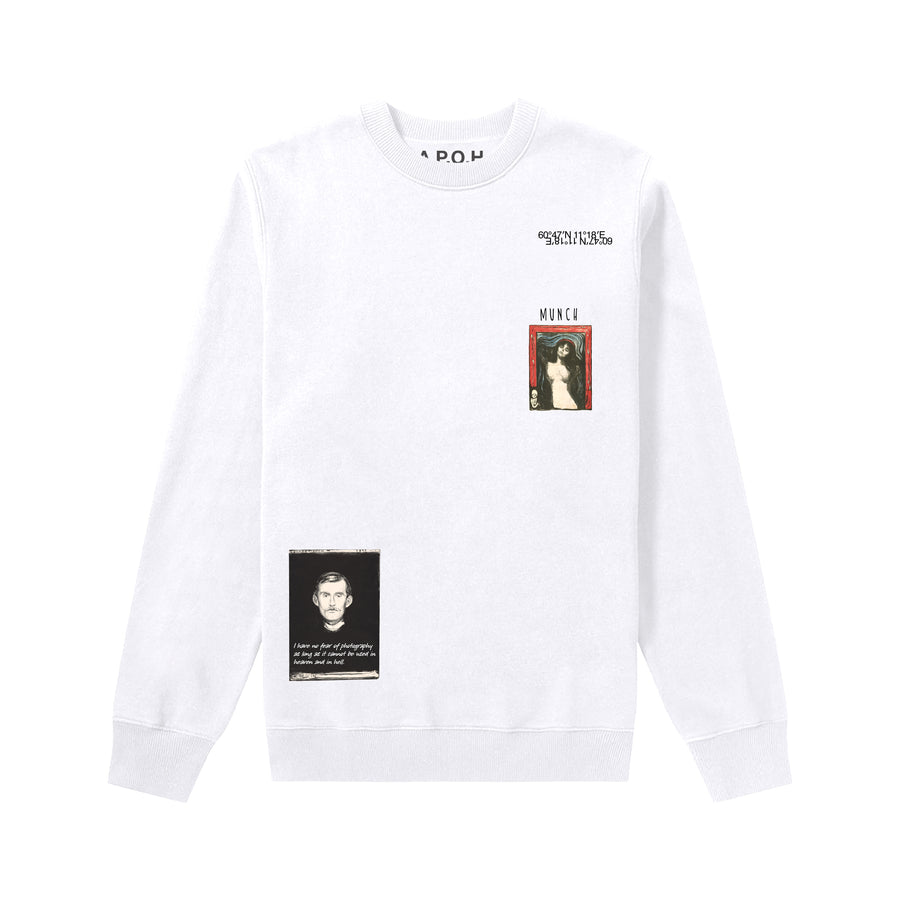 Edvard Munch Portrait Placement White Sweatshirt