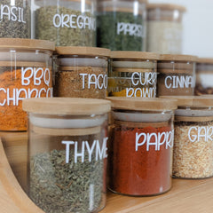 Herb and spice jars with spice rack