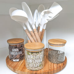 utensils, glass pantry jars and lazy susan