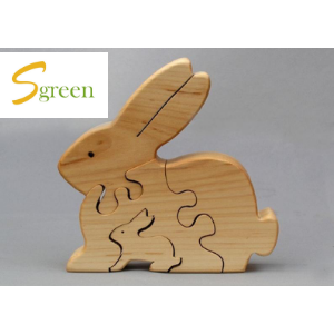 wooden big rabbit cover small rabbit by puzzle block