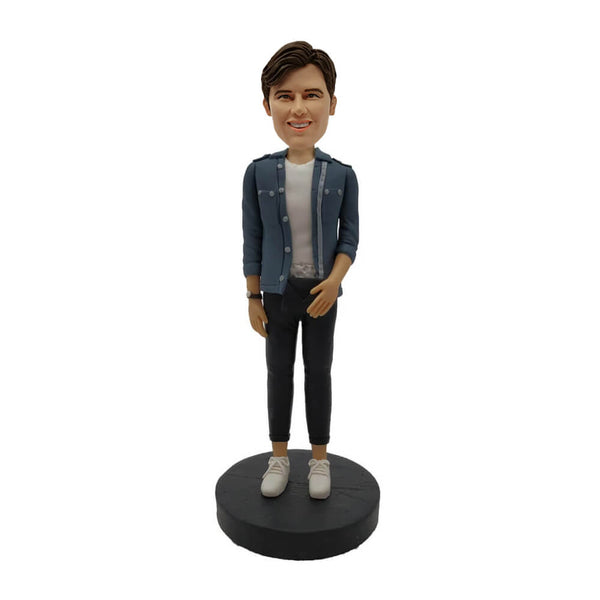 Grey Jacket Boy Bobblehead