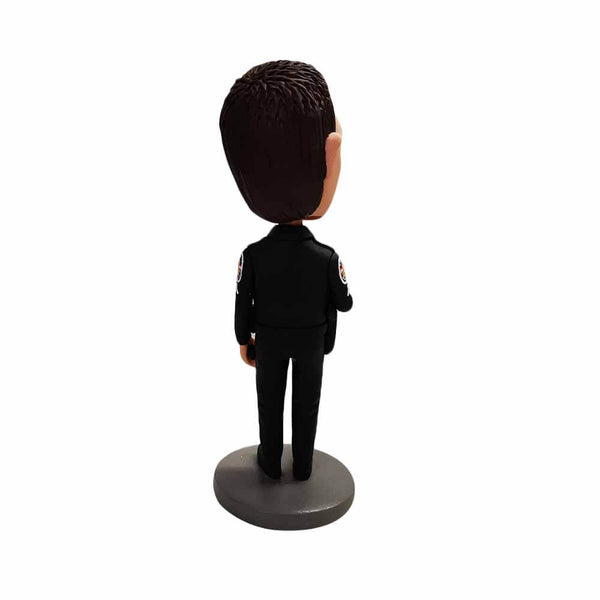 Brave Policeman in Black Police Uniform Custom Bobblehead