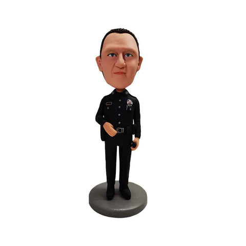 Brave Policeman in Black Police Uniform Custom Bobbleheads