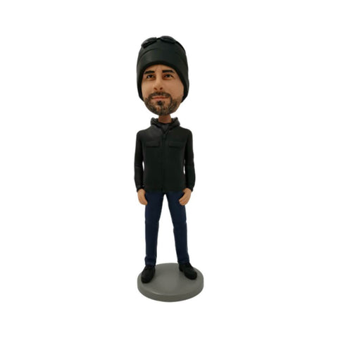 The Coolest Black Hat Man Personalized Bobblehead