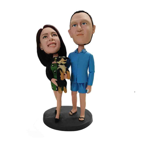 Couple With Pet Dog Custom Bobbleheads