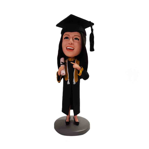 Girl Fresh From Graduation In Black Toga Custom Bobblehead