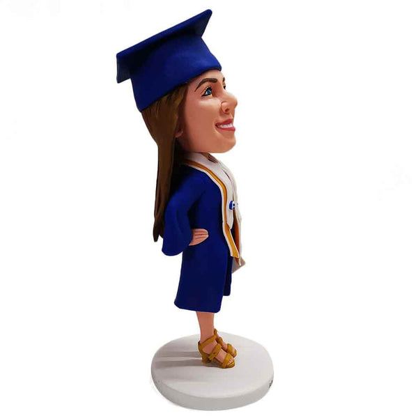 Girl Fresh From Graduation In Blue Toga Custom Bobblehead
