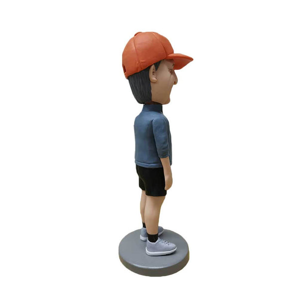 Short Pants Man with Red Hat Personalized Bobblehead