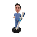 Male Dentist with Toothbrush Custom Bobblehead