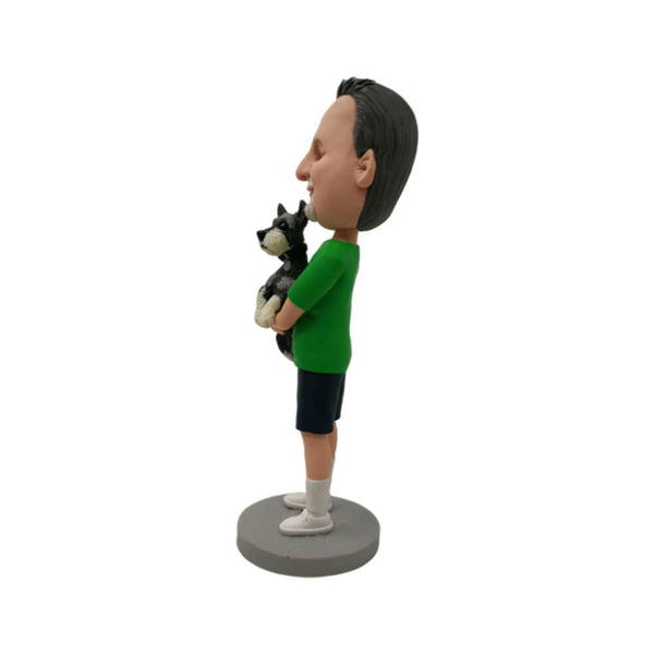 Man Huging a Dog Custom Bobblehead