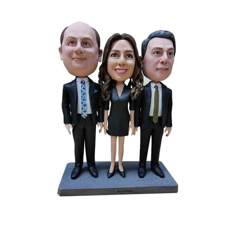 Two Gentlemen with a Lady in Business Attire Triple Bobblehead