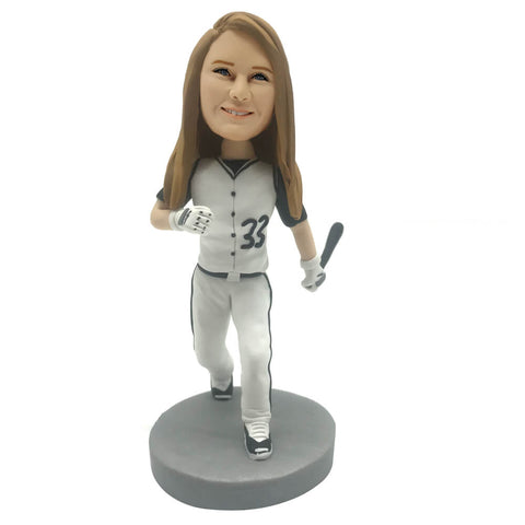 Baseball Player Bobblehead with Baseball Bat