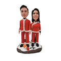 Christmas Couple Custom Bobblehead Standing in The Snow