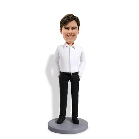 White Shirt Man Custom Bobblehead