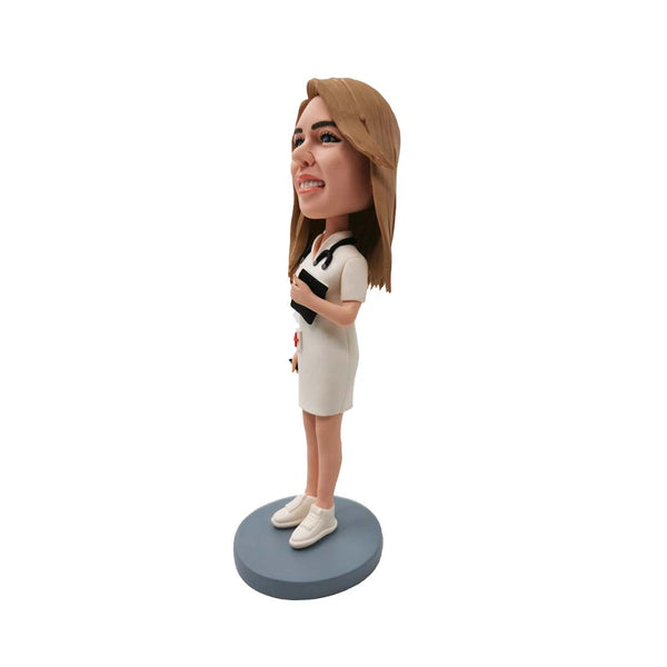 White Uniform Nurse Bobblehead