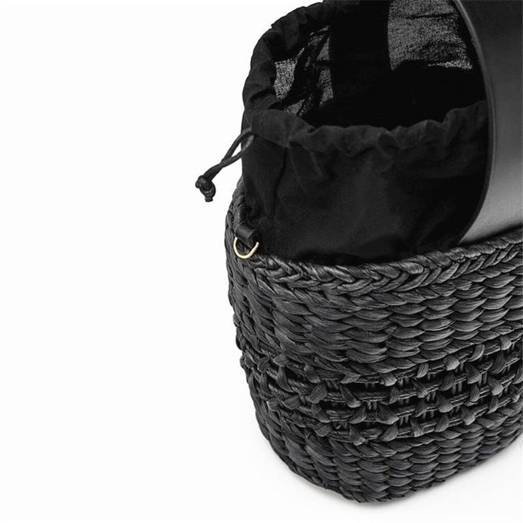 Crescent Bucket Straw Beach Bag Beach Bags Trekeffect