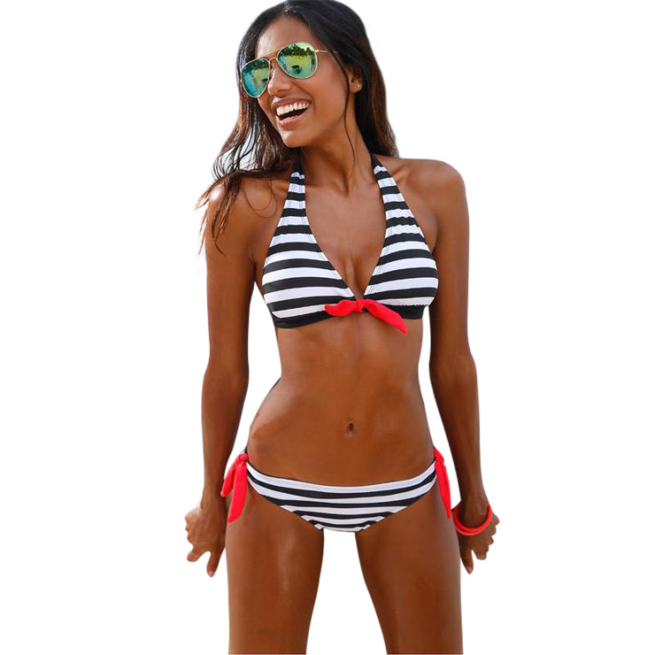 Marley Striped Halter Top Bikini Top