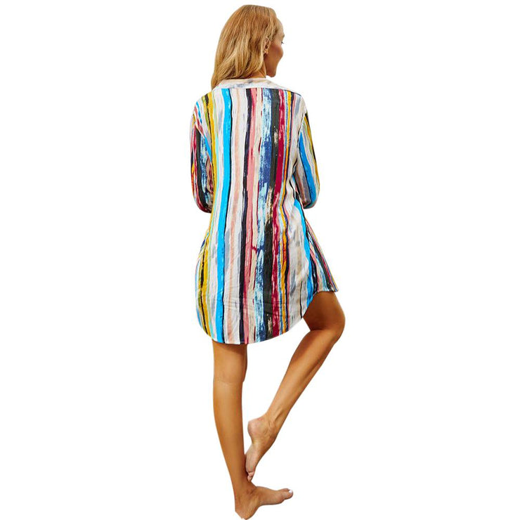 Juag Striped Cotton Cover Up Cover-ups Trekeffect