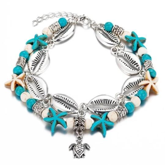 Turtle Alloy Beaded Anklet Beach Jewelry Trekeffect