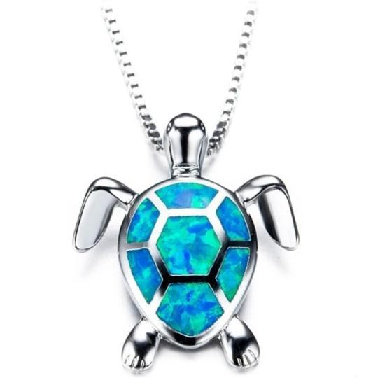 Turtle Pendant Necklace Beach Jewelry Trekeffect Blue