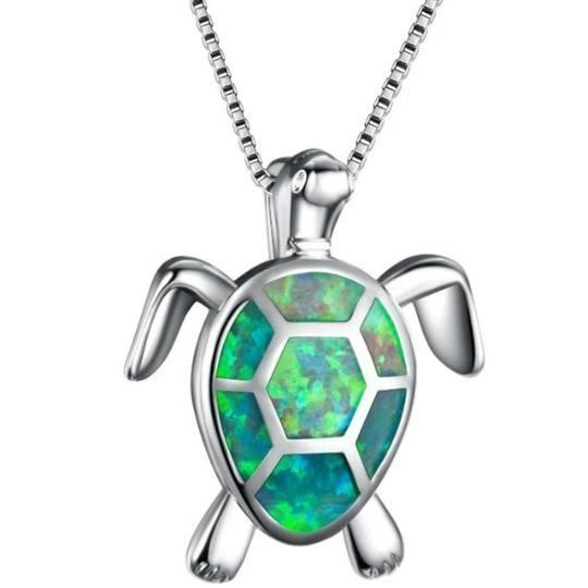 Turtle Pendant Necklace Beach Jewelry Trekeffect Green