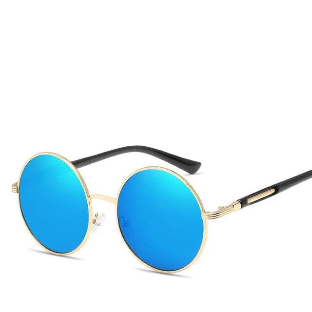 Cat's Eye Round Vintage Sunglasses Blue Trekeffect