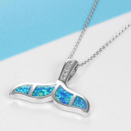 Blue Whale Tail Necklace Beach Jewelry Trekeffect Blue