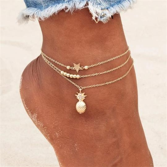 Pineapple Chain Beaded Anklet Beach Jewelry Trekeffect
