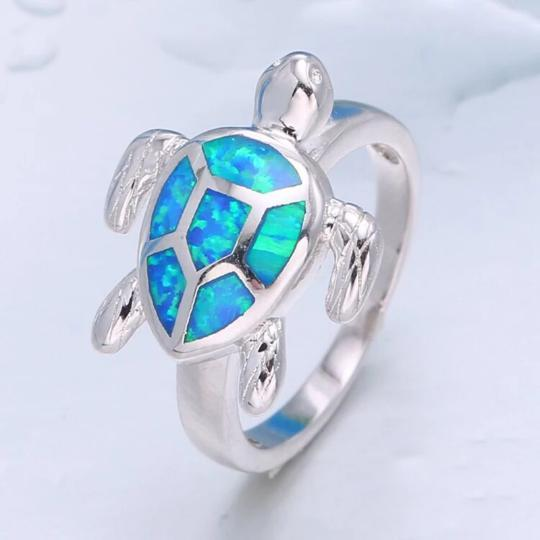 Turtle Blue Fire Ring Beach Jewelry Trekeffect 6 Blue