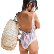 Mazo Striped V Neck One Piece One Piece Trekeffect