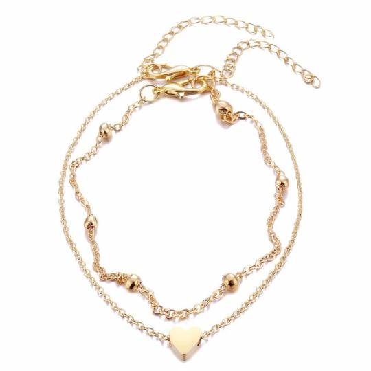 Heart Beaded Anklet Beach Jewelry Trekeffect Gold