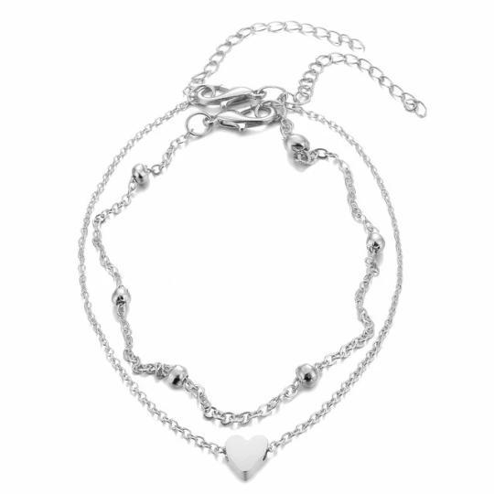 Heart Beaded Anklet Beach Jewelry Trekeffect Silver
