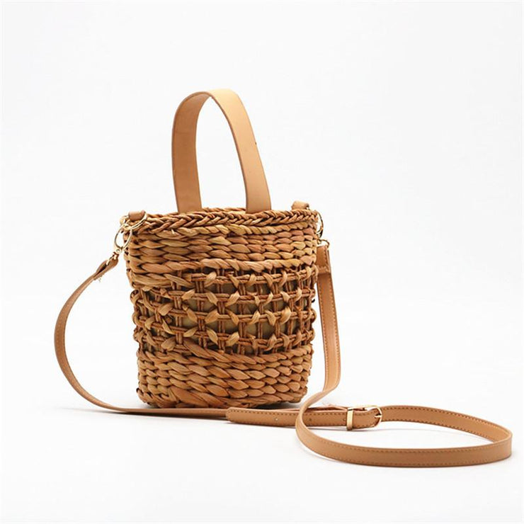 Crescent Bucket Straw Beach Bag Beach Bags Trekeffect Khaki