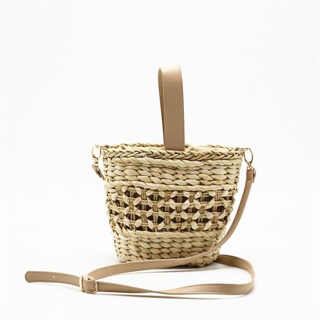 Crescent Bucket Straw Beach Bag Beach Bags Trekeffect Beige