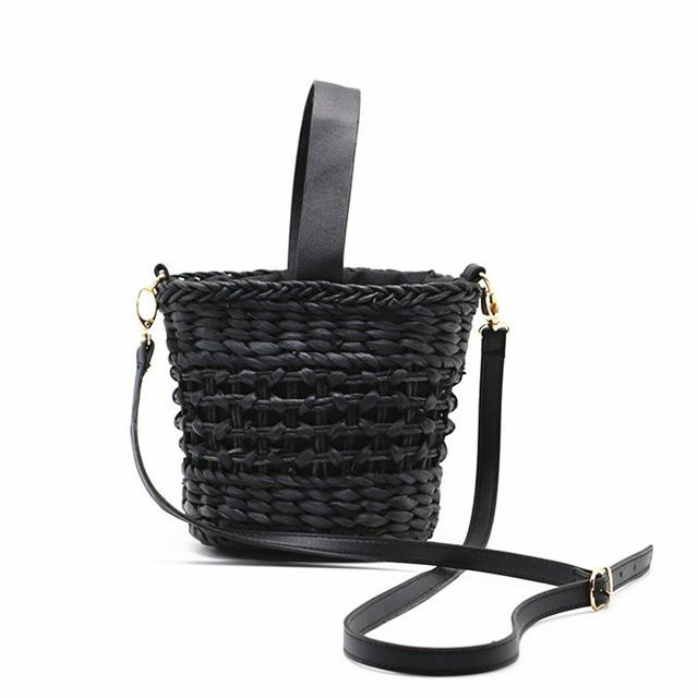 Crescent Bucket Straw Beach Bag Beach Bags Trekeffect Black