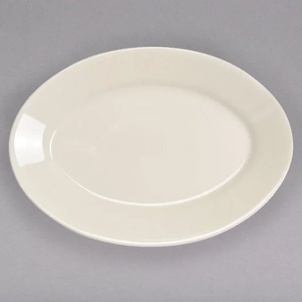 "Homer Laughlin 15800 15 5/8"" Ivory (American White) Rolled Edge Oval China Platter - 12/Case"