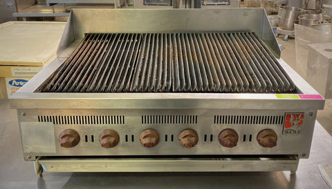 "Wolf SCB36CN-1 - Countertop Low Profile Radiant Gas Charbroiler w/ 6 Burners 36"" NG - 87,000 BTU"